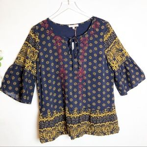 Skies Are Blue | NWT Embroidered Bohemian Blouse